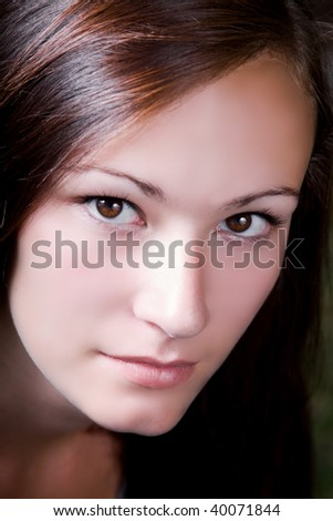 Extreme Close up on a Teenage Girl - stock photo
