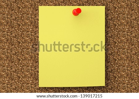 Extreme Closeup note paper pined on cork board