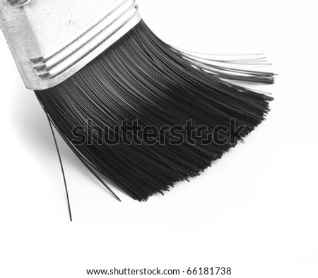 extreme closeup of a brush on white background