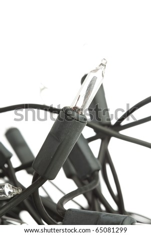 extreme closeup of a christmas lights on white background - stock photo