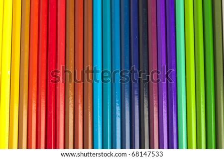 extreme closeup of a crayons stack texture - stock photo