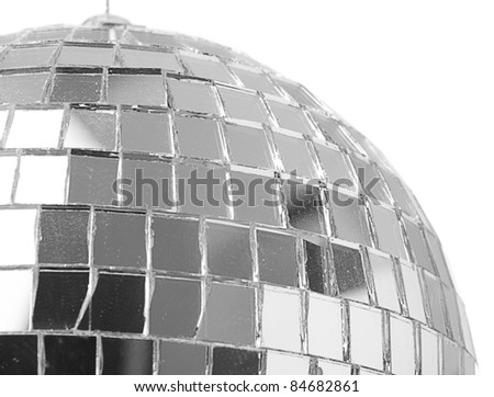 extreme closeup of a mirror ball on white background - stock photo