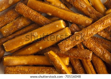 extreme closeup of a salted sticks stack - stock photo