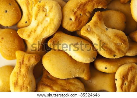 extreme closeup of a salty fish cookies