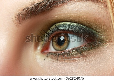 extreme closeup of beautiful womanish eye with glamorous khaki smoky makeup macro - stock photo