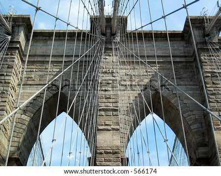 Extreme Closeup of Brooklyn Bridge Tower and Cables