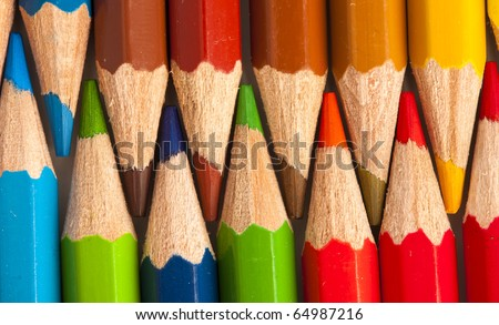 extreme closeup of crayon colors stack texture - stock photo