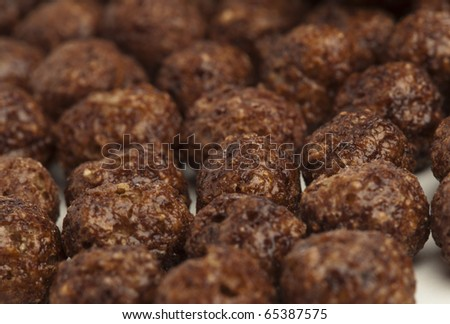 extreme closeup of delicious chocolate cereals balls