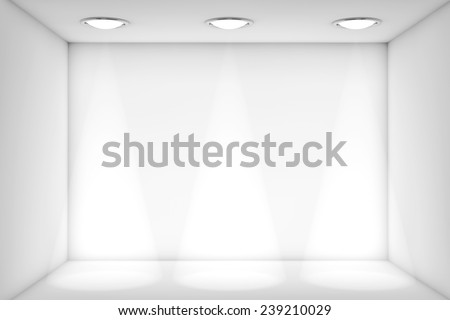 Extreme Closeup White room with Light for exhibition - stock photo