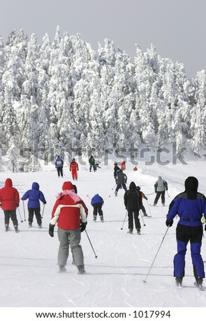 Extreme Cold Downhill Skiing - stock photo