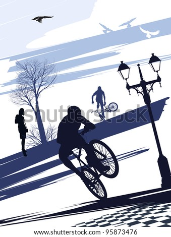 Extreme cyclist doing tricks on the square - stock photo