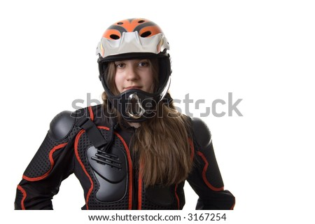 Extreme girl in body-armour with full-face helmet, isolated