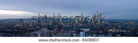 Extreme HiRes Panorama of Frankfurt. Crop where desired. - stock photo