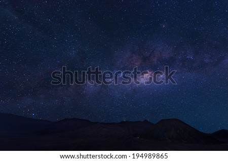 Extreme long exposure image showing milky way above the Bromo Volcano, Indonesia  - stock photo