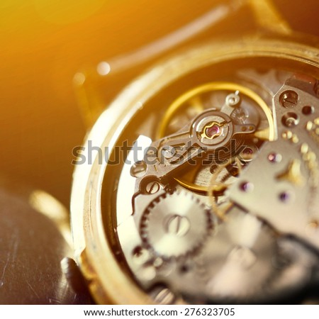 Extreme macro shot of watch mechanism - stock photo