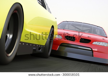 Extreme motorsports racing, race car competitively looking to pass. - stock photo