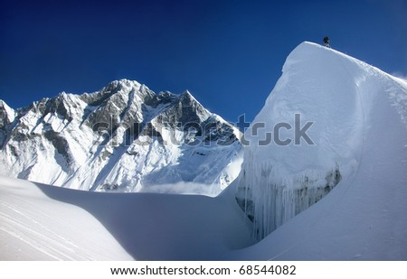 Extreme mountain climbing in the Himalayas, Asia - stock photo