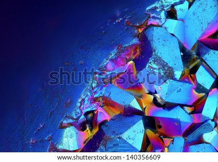 Extreme sharp and detailed surface of Titanium Aura Crystal Cluster stone at 20x magnification taken with Mitutoyo microscope objective - stock photo