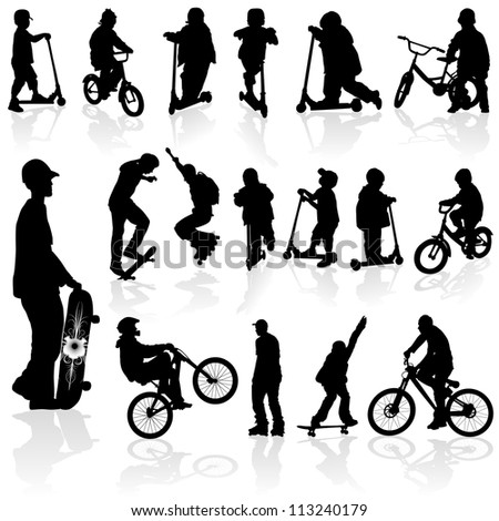Extreme silhouettes children and man on roller, bicycle, skateboard, illustration