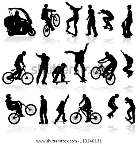 Extreme silhouettes man on roller, bicycle, scooter, skateboard, illustration
