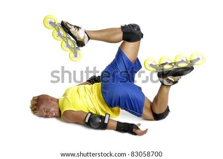 Extreme skateboard fall. - stock photo