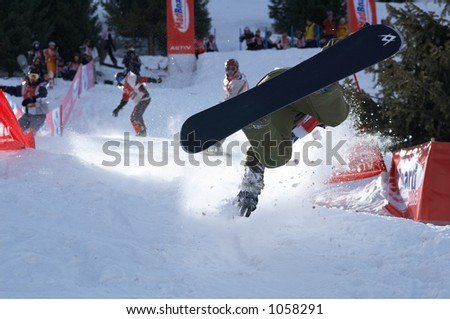 Extreme snowboarder fall