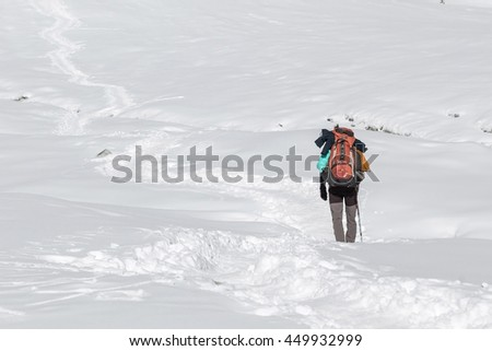 Extreme solo trekking concept. Single traveller walking in deep snow with big heavy backpack and trekking pole. Alpine adventure with mountaineer traversing a snow covered valley in winter. - stock photo