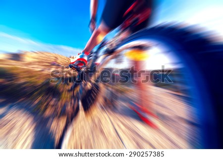 Extreme sport.Bicycle and speed concept. Wheel detail - stock photo
