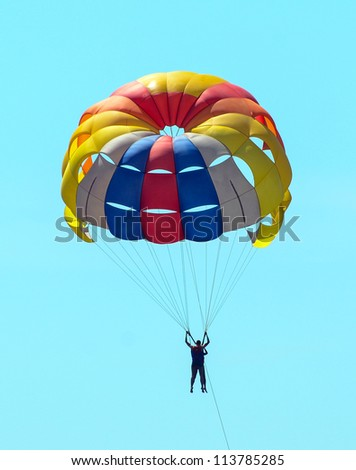 Extreme sports - Parachute at over sky - stock photo