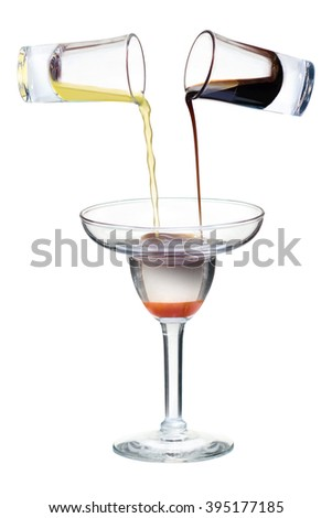 "Extreme strong cocktail ""Snakeâ??s Tears"": Tequila, Lemon juice, Coffee liqueur, Tabasco.  - stock photo"