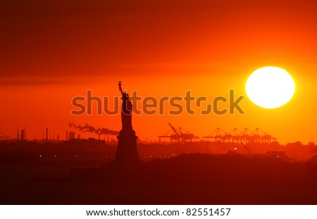 Extreme sunset at New York city. - stock photo