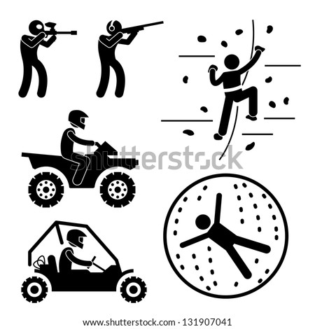 Extreme Tough Game for Man Paintball Clay Shooting Rock Climbing Quad Biking Zorb Ball Sport Stick Figure Pictogram Icon - stock photo