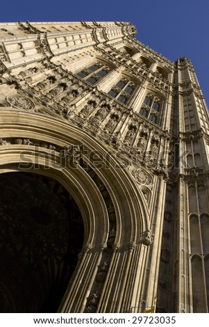 Extreme view of entrance tower at the Houses of Parliament in London, England.
