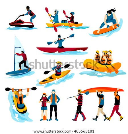 Extreme water sports flat color icons set with people in rafting surfing canoeing kayaking windsurfing isolated  illustration