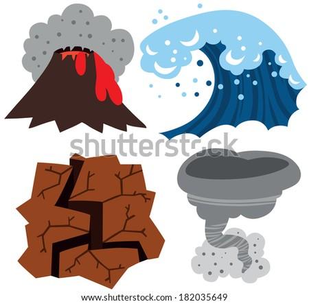 Extreme Weather Set: Volcano, Tsunami, Earthquake and Tornado - stock photo