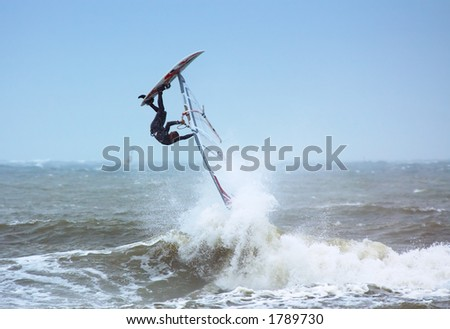 extreme windsurfing - stock photo