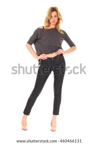 Extremely beautiful woman dressed in black leather pants