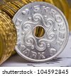 Extremely close up view of Denmark currency - stock photo