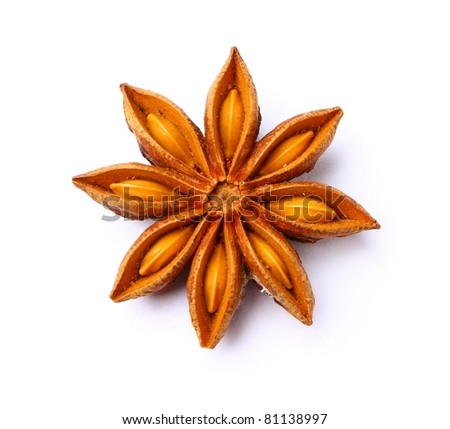 Extremely closeup view of anise star - stock photo