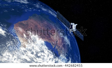 Extremely detailed and realistic high resolution 3D image of earth with deep space one spacecraft above Australia. Elements of this image have been furnished by NASA - stock photo