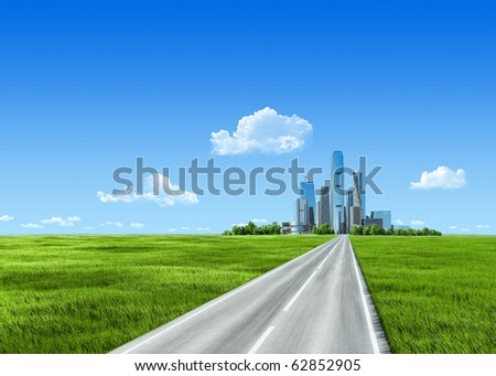 Extremely detailed 7000px grass and city on horizon. Skyscrapers business center not far from countryside with clean green grass. Grass collection. - stock photo