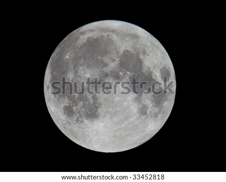 Extremely High Resolution Photo of Full Moon (shot with 21 mega-pixel camera) - stock photo