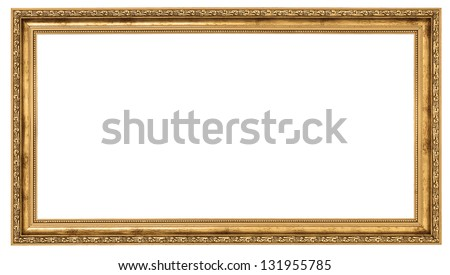 Extremely long golden frame isolated on white background