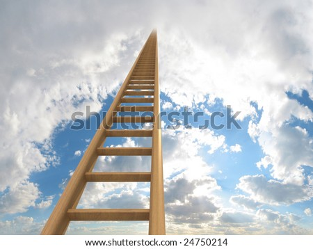 Extremely long ladder leading up to the sky. Computer generated image which could be used to represent aspirations, a journey, careers, ambition or going to heaven. - stock photo