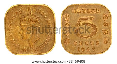 Extremely Rare Sri Lankan CEYLON 5 CENT coin of 1943 - stock photo