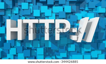 Extruded HTTP text with blue abstract backround filled with cubes - stock photo