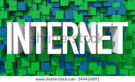 Extruded Internet text with blue abstract backround filled with cubes - stock photo