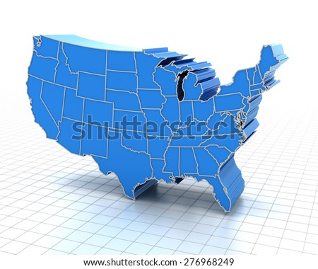Extruded map of USA with state borders, 3d render