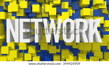 Extruded Network text with blue abstract backround filled with cubes - stock photo