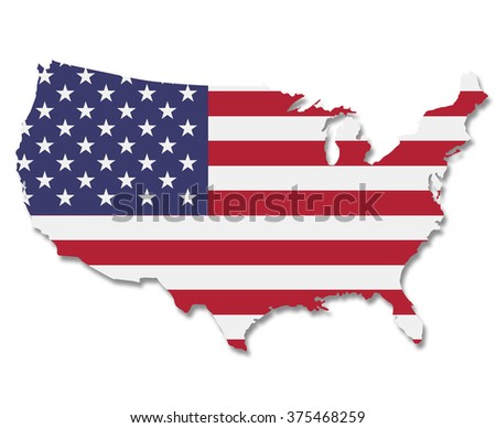 Extruded USA map. Alaska is not included. Isolated on white with shadow. Clipping path is included. - stock photo